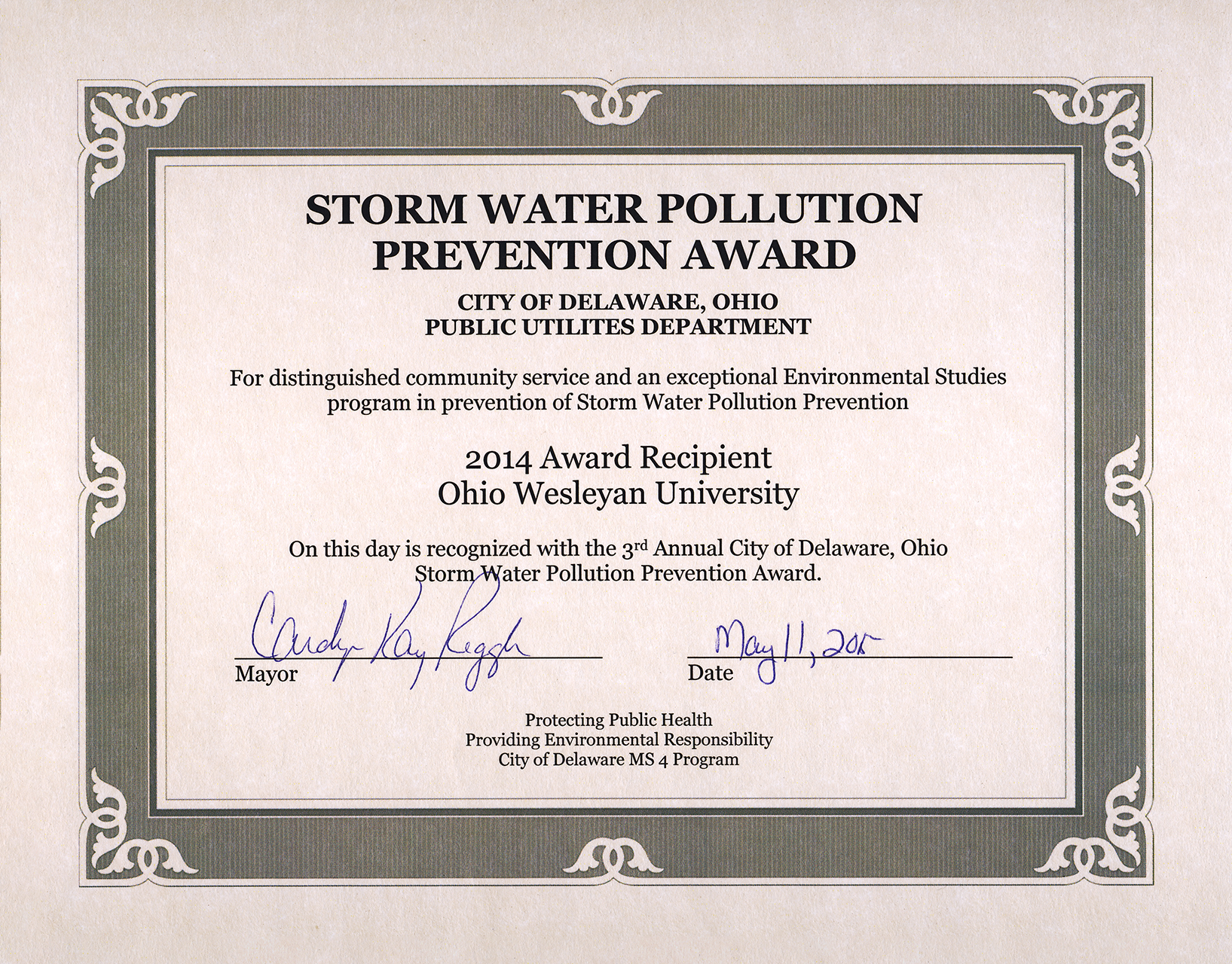 OWU's Environmental Studies Wins Storm Water Prevention Award