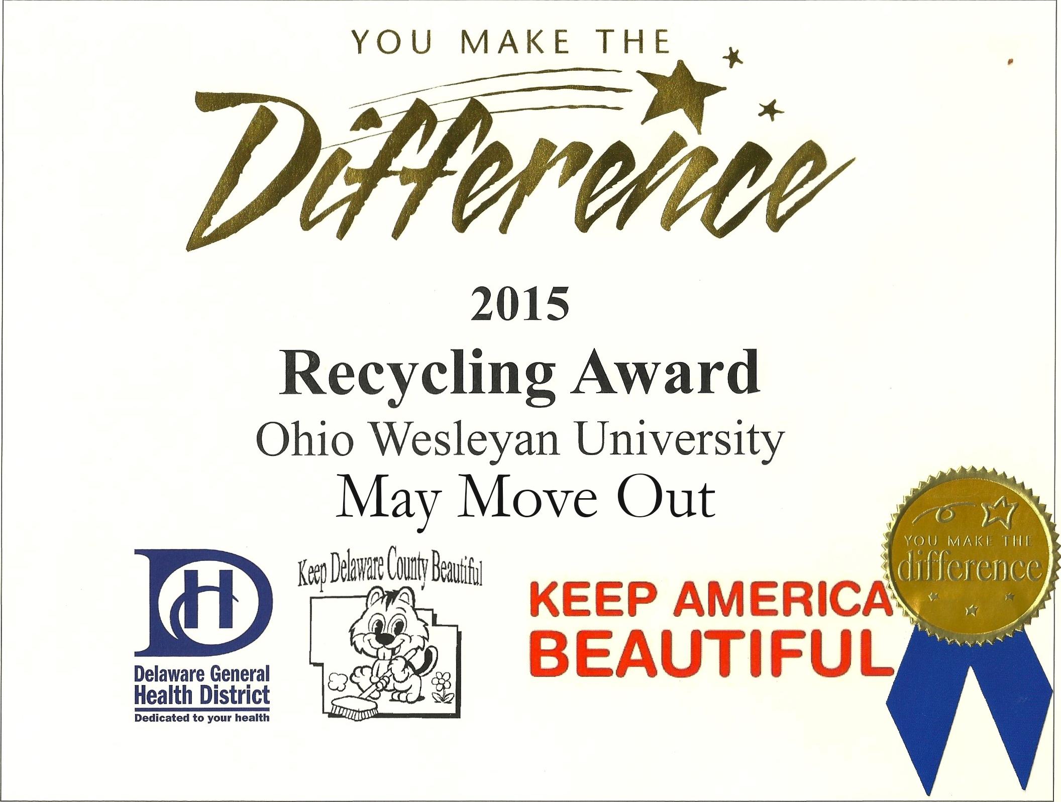 "OWU Earns ""Keep Delaware County Beautiful"" Award"