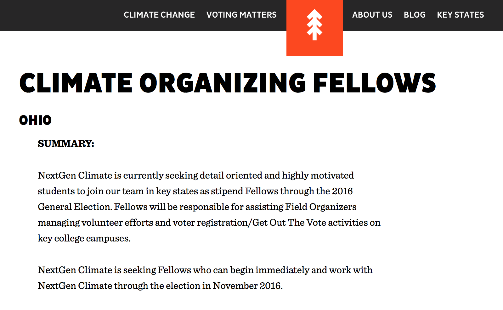 Climate Organizing Fellows