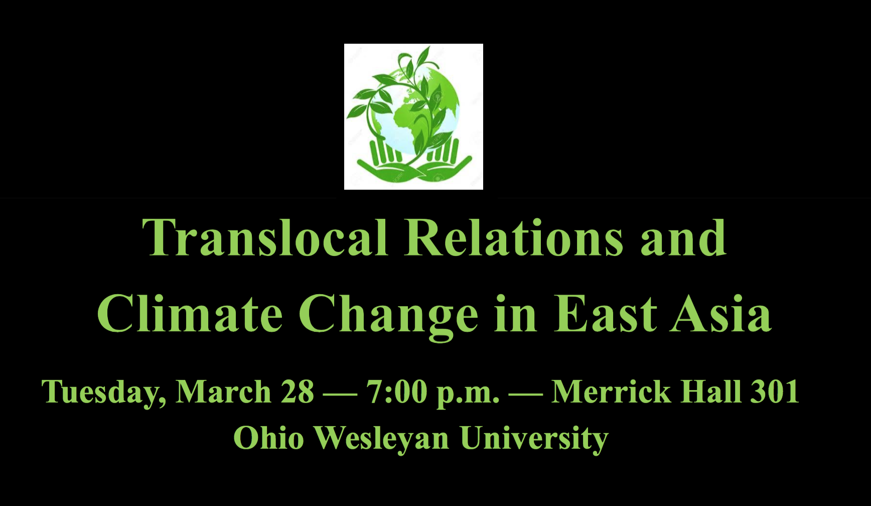 OWU Talk: Translocal Relations and Climate Change in East Asia: March 28