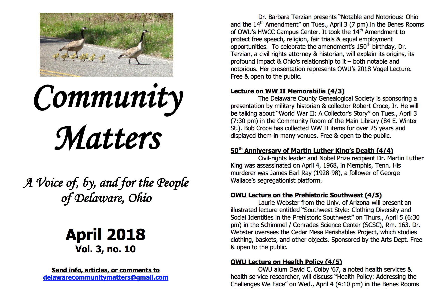 Delaware, Ohio area Sustainability Events & Activities April 2018